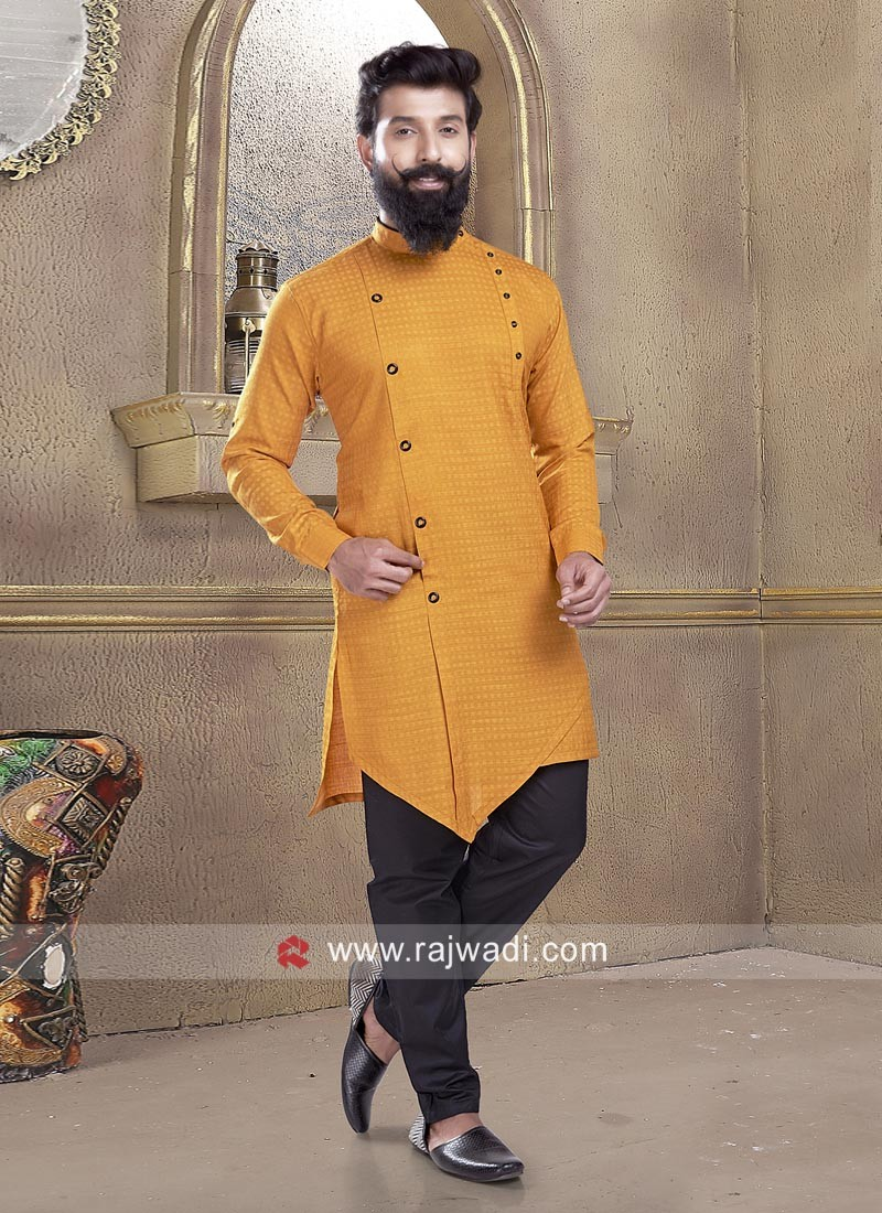 Peaceful Mustard Yellow Pathani Suit