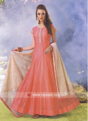 Peach Anarkali Salwar Kameez with Dupatta