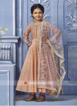Peach Anarkali Suit for Kids