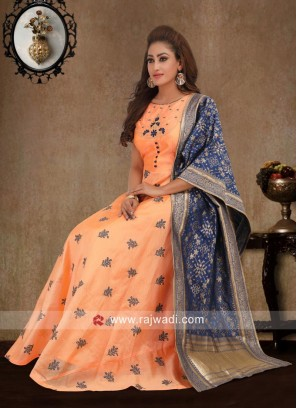 Peach Anarkali Suit with Blue Dupatta