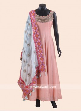 Peach Anarkali Suit with Sky Blue Dupatta