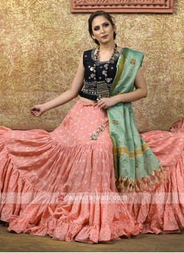Peach and black color chaniya choli