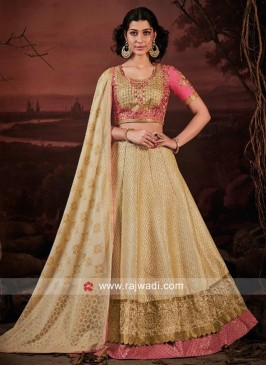 Peach and Cream Embroidered Lehenga