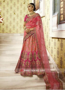 Peach and Deep Pink Shaded Lehenga
