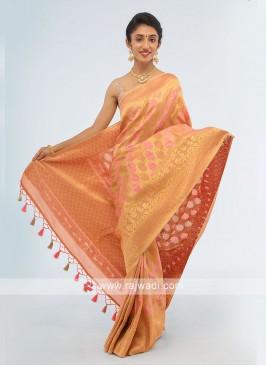 Peach And Golden Banarasi Silk Saree