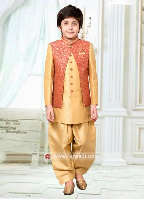 Peach and Golden Indo Western for Kids