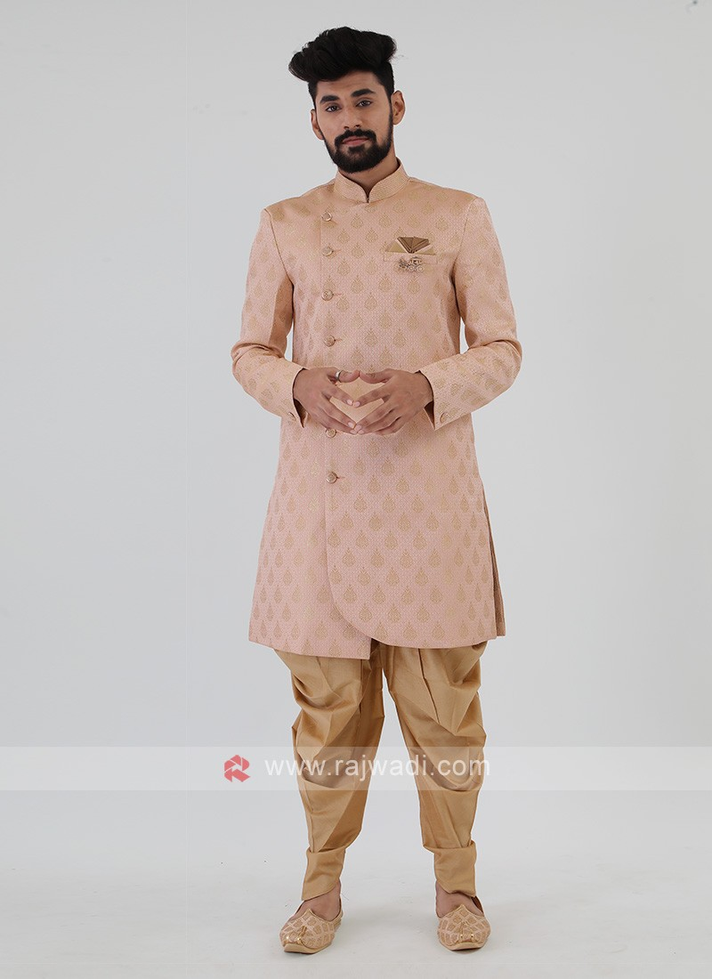Peach And Golden Mens Indo-Western
