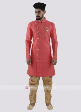 Peach And Golden Patiala Suit