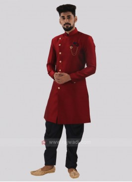 Red And Blue Patiala Suit