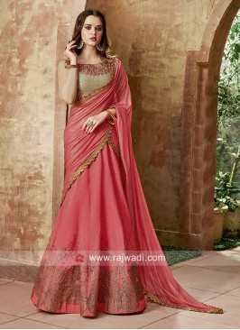 Peach and Golden Silk Lehenga Set