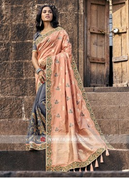 Peach and grey banarasi and silk saree