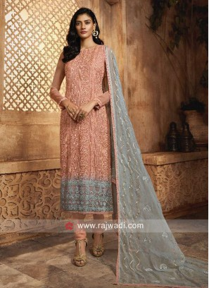 Peach and Grey Chiffon Salwar Kameez