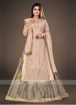 peach and light brown lehenga kurta suit