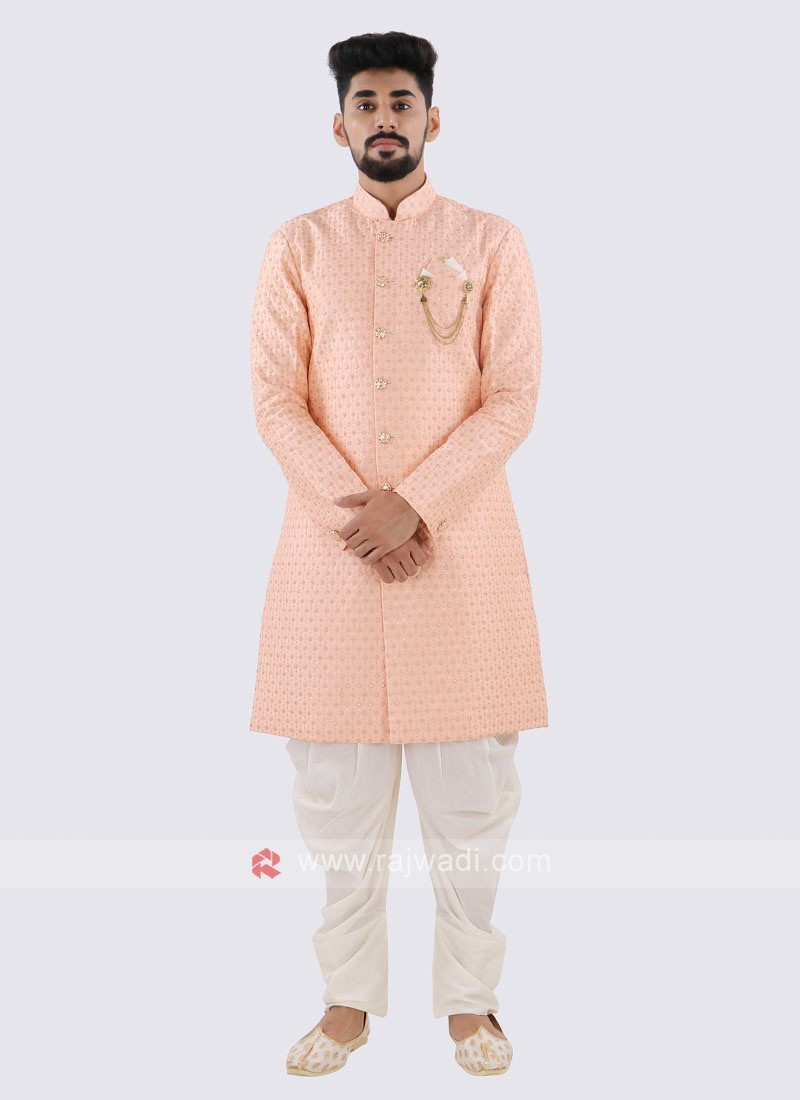 Peach And Off White Indo Western