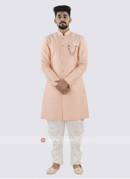 Peach And Off White Patiala Suit