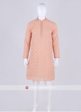 peach and off white kurta pajama