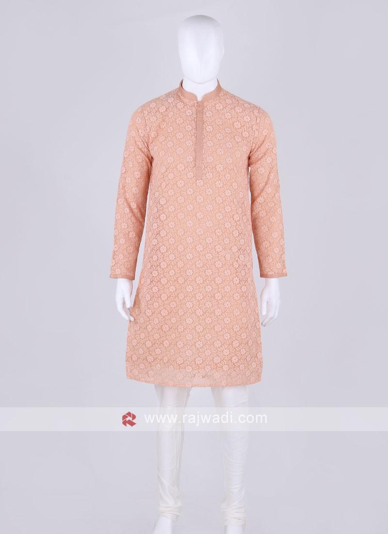 peach and off white kurta pajama