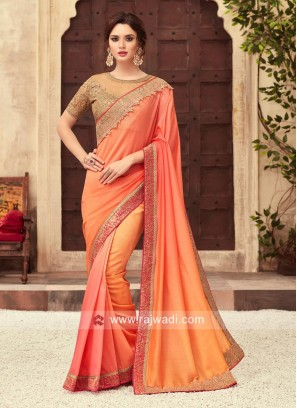 Peach and Orange Shaded Saree