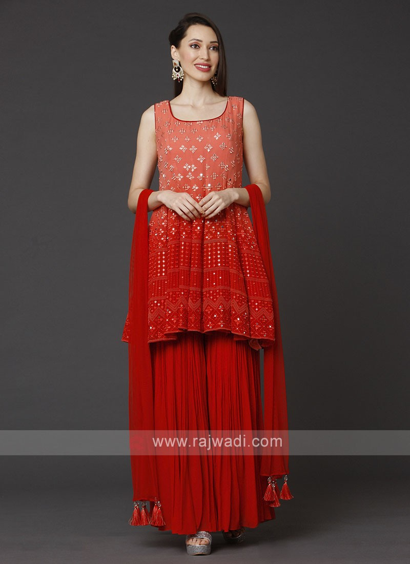 Peach And Pink Gharara Suit