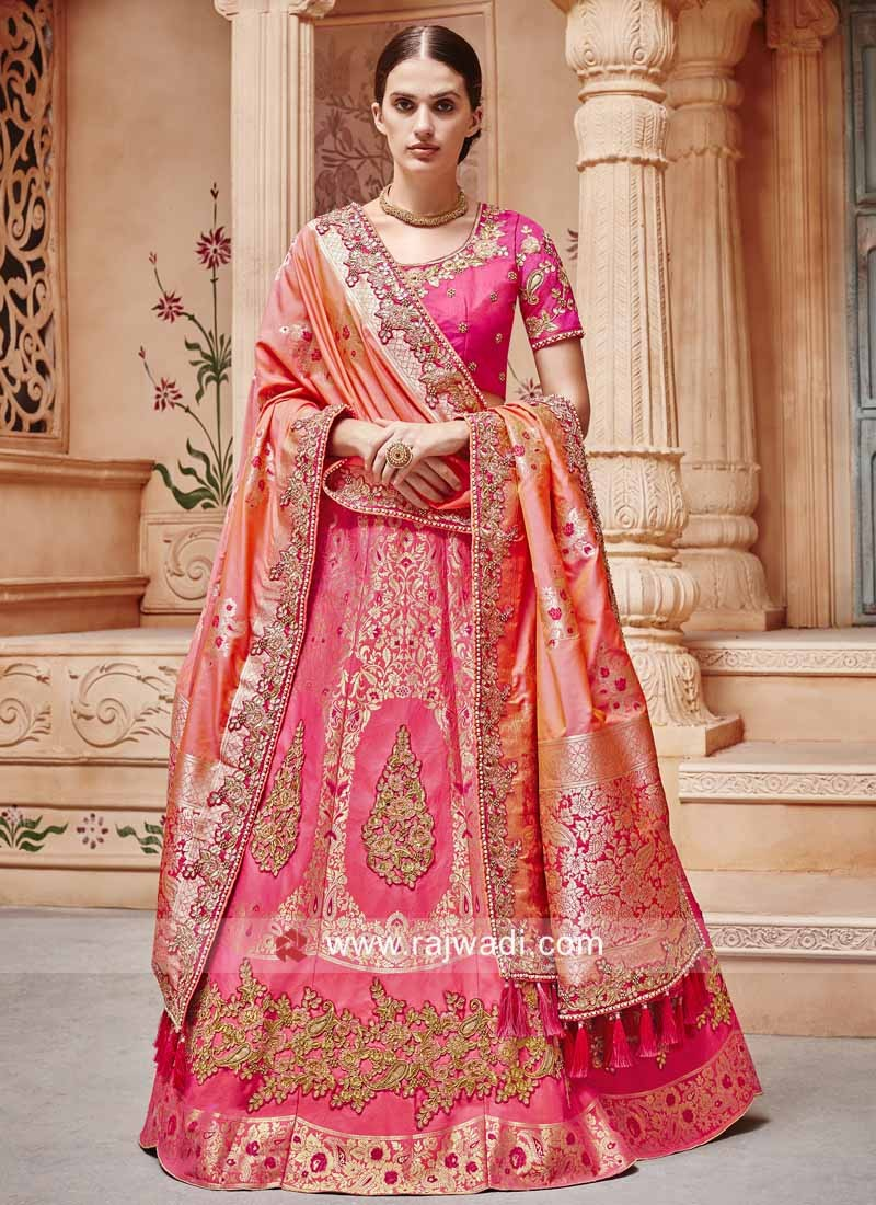 Peach and Pink Shaded Lehenga Set