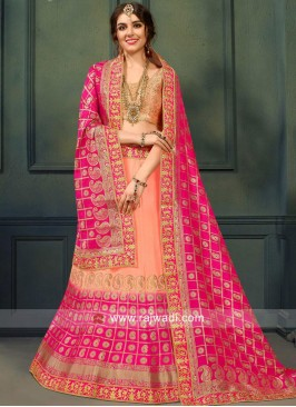 Peach and Pink Shaded Weaved Lehenga