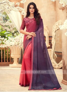 Peach and Purple Shaded Chiffon Saree