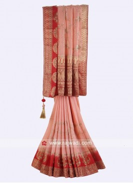 Peach and Red Banarasi Silk Saree