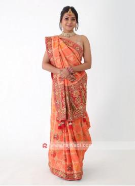 Peach And Red Banarasi Silk Saree