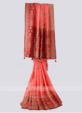 Peach And Red Banarsai Silk Saree