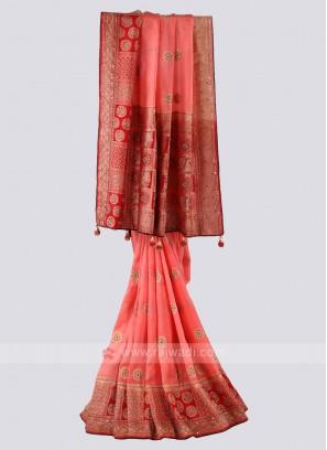 Peach And Red Banarsai Silk Saree