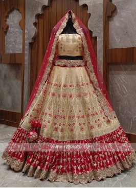 Peach and red bridal lehenga choli