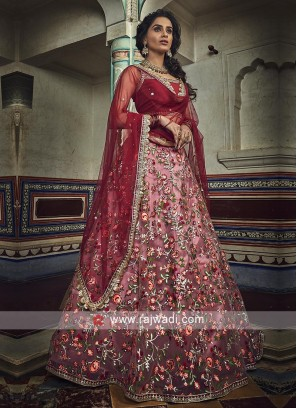 Peach And Red Lehenga Choli