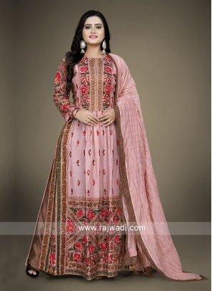 Peach and rust color palazzo suit