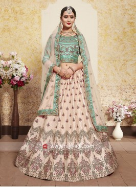 Peach and Sea Green Designer Lehenga