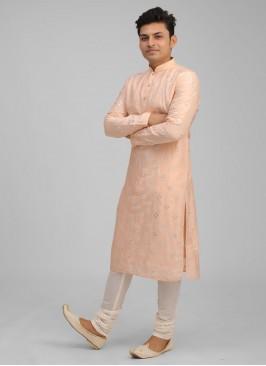 Peach And Off-White Color Kurta Pajama