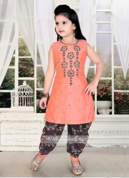 peach and wine color salwar kameez