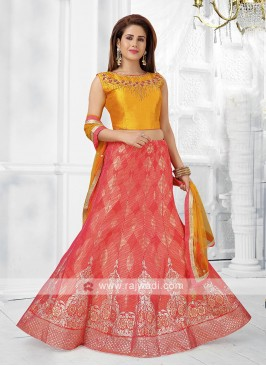 Peach and yellow lehenga choli