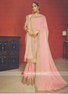 Peach Art Silk Border Work Saree