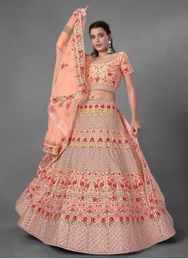 Peach Art Silk Embroidered Bollywood Lehenga Choli