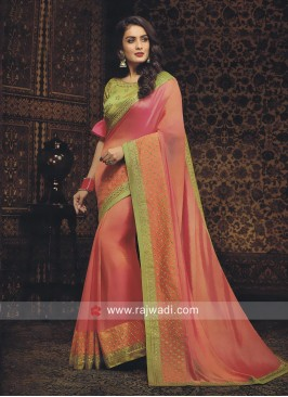 Peach Art Silk Embroidered Saree