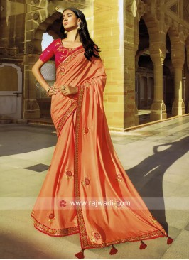 Peach Art Silk Saree with Pink Blouse