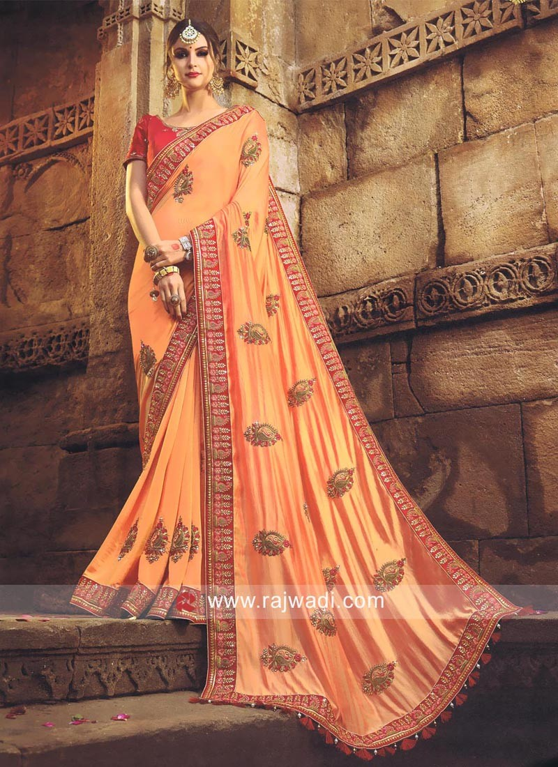 Peach Art Silk Saree with Tassels