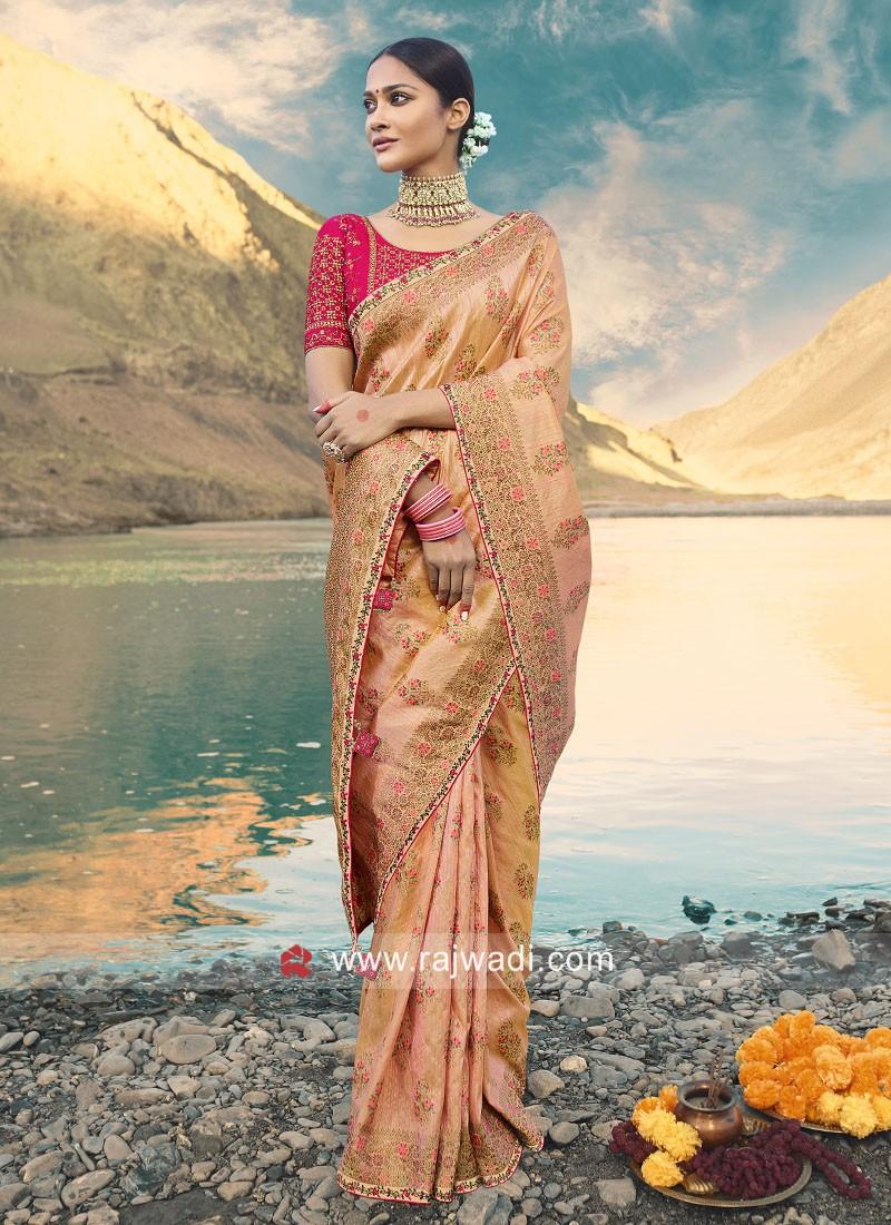 Peach Art Silk Wedding Saree
