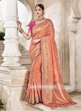 Peach Banarasi Silk Saree