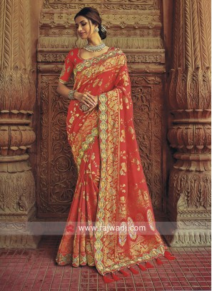 Peach Banarasi Silk Wedding saree