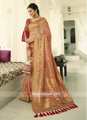 Peach Banasari Silk saree with contrast unstiched blouse
