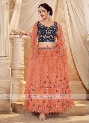 Peach & Navy Net Lehenga Choli