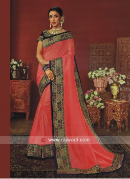 Peach Border Work Wedding Saree