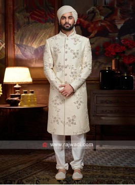 Designer Wedding Off White Sherwani