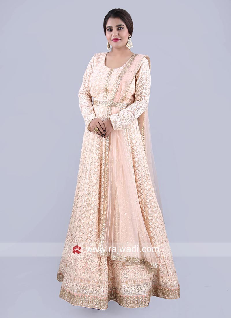 Peach Chiffon Anarkali Suit with Attached Dupatta